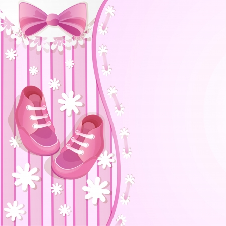 album background: Pink baby shower card with baby shoes