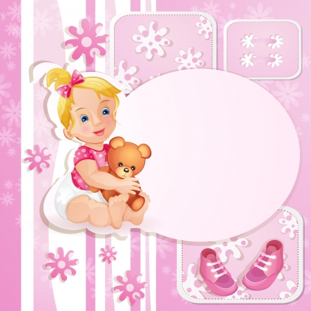 Pink baby shower card with  cute little girl