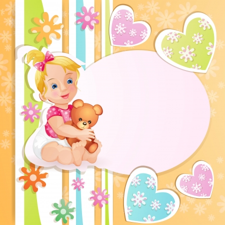 Baby shower card with cute baby girl Stock Vector - 15649754