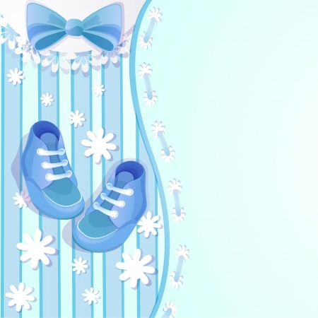 Baby shower blue card with baby shoes Vector