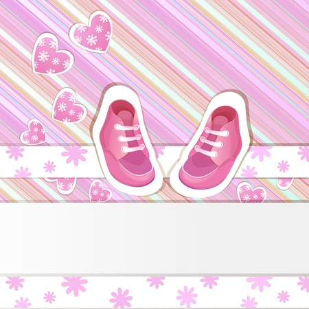 Pink  baby shower card with baby girl shoes Vector
