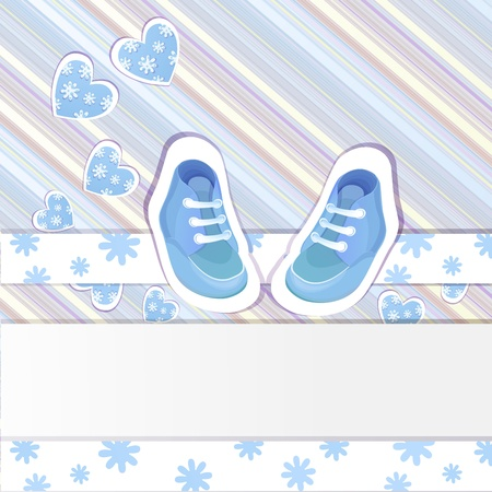 baby shoes:  Baby shower card with baby boy shoes Illustration