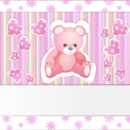 Pink baby shower card with teddy bear Vector