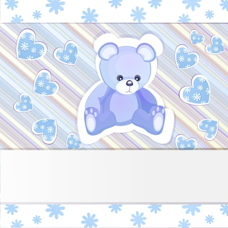 Blue baby shower card with teddy bear Stock Vector - 15804339