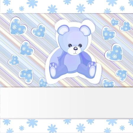 Blue baby shower card with teddy bear Stock Vector - 15804339