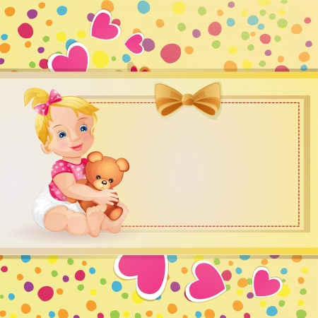 Baby shower card with cute baby girl Illustration