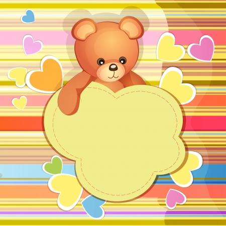 girl shower: Tarjeta de la ducha del beb� con el oso de peluche lindo