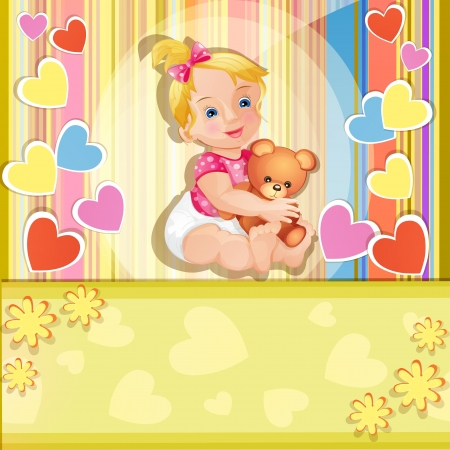 Baby shower card with cute baby girl Stock Vector - 15900189