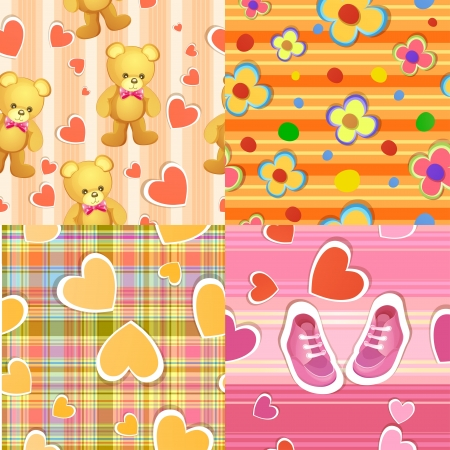 baby scrapbook: Set of 4 seamless baby background patterns Illustration