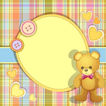 baby shower party: Baby shower card with cute teddy bear