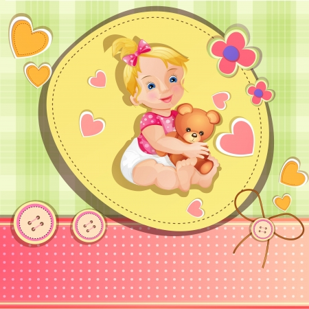 Baby shower card with cute baby girl Stock Vector - 15900187