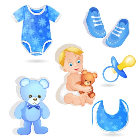 baby boy shower: Set of elements for a baby boys Illustration