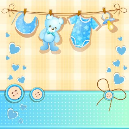 Tarjeta azul bebé ducha