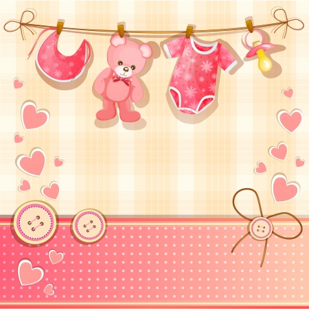 Pink baby shower card  Vector