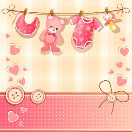 child birth: Pink baby shower card  Illustration