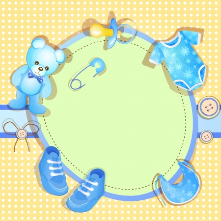 Blue baby shower card with baby boy elements Vector