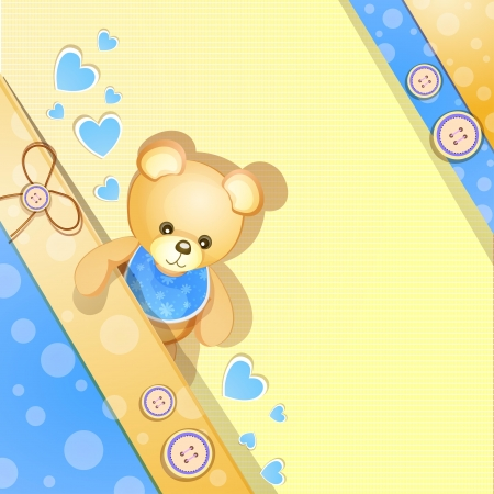 Blue baby shower card with cute teddy bear Vector