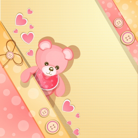 Pink baby shower card with cute teddy bear Vector
