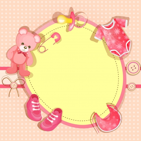 Pink baby shower card with baby girl elements Vector