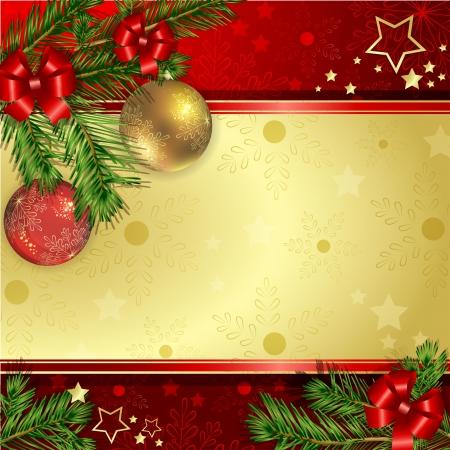 gold decorations: Bolas de Navidad colgando con rama de pino y lazos