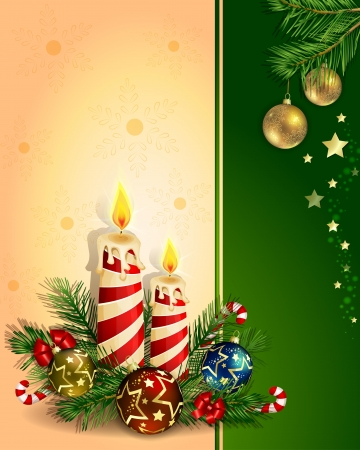 Christmas background with burning candles 向量圖像