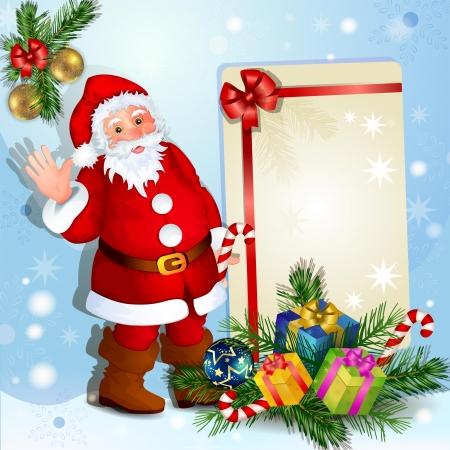 bolas de nieve: De fondo de Navidad con Santa Claus