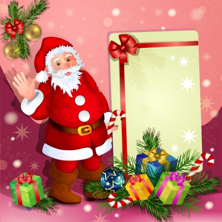 snowball: Christmas background with Santa Claus