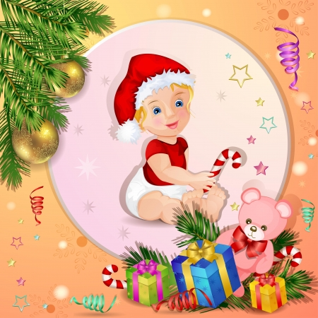 Christmas background with boxes gift and cute baby Vector