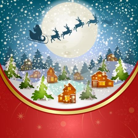 tra�neau: Paysage d'hiver avec le P�re No�l s tra�neau volant dans le ciel Illustration