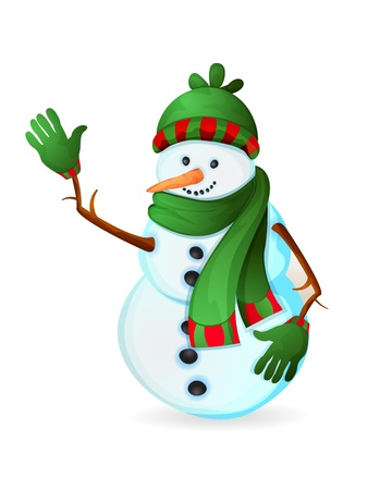 snowfalls: Cute snowman isolated on white Illustration