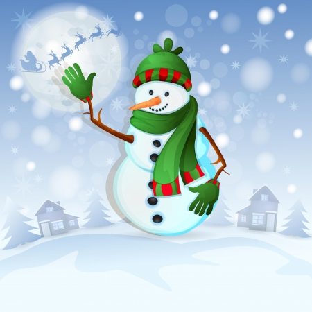 Christmas background with happy snowman Stock Vector - 16786479