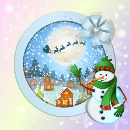 Christmas background with happy snowman Vector