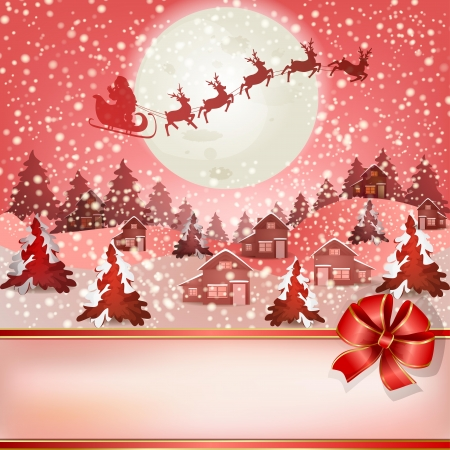 natale: Winter landscape with Santa Claus s sleigh flying on the sky Illustration