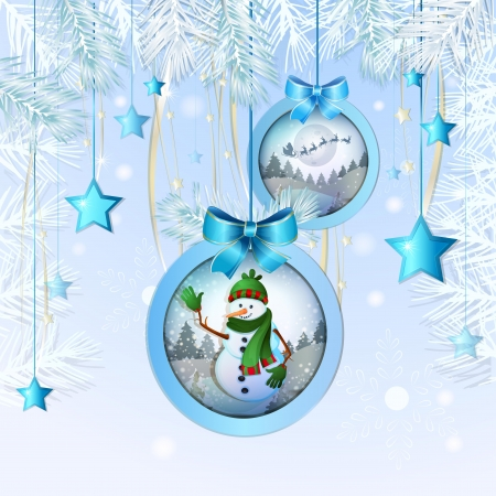 Beautiful  Christmas ball with snowman and winter landscape Vector