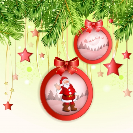 Beautiful  Christmas ball with Santa Claus and winter landscape Vector