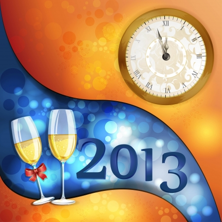 year's eve: New year s eve greeting card with glasses of champagne