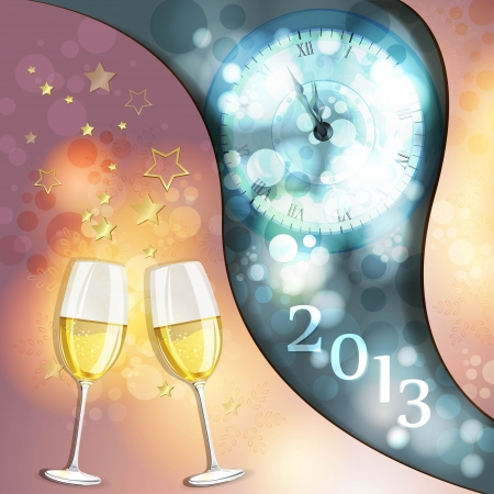 New year s eve greeting card with glasses of champagne Stock Vector - 17023171