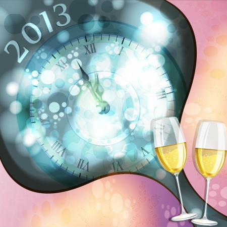 new year s card: New year s eve greeting card with glasses of champagne