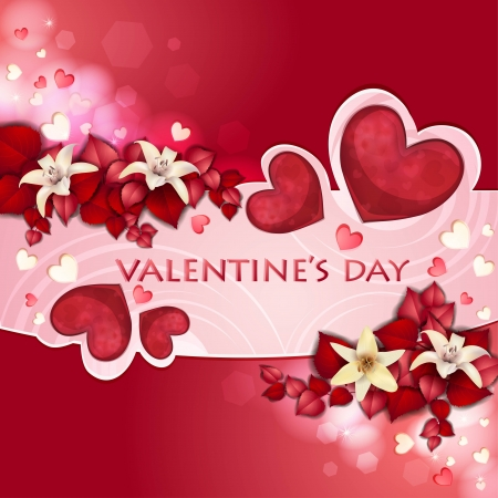 valentine s day: Valentine s day card with beautiful flowers