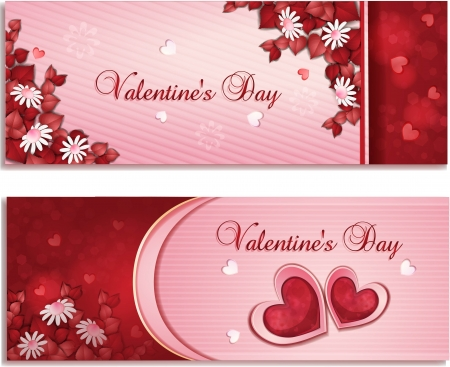 Beautiful Valentine s day banners with flowers