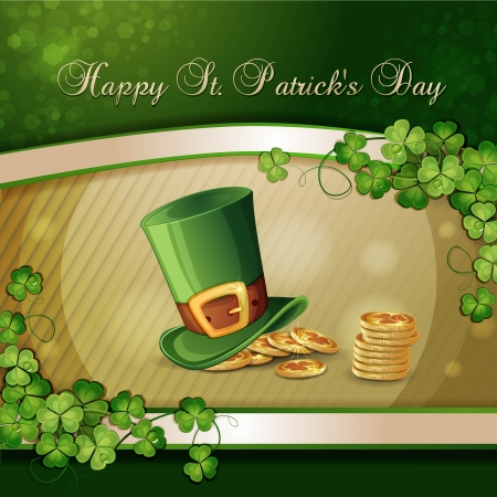 patrick plant: Saint Patrick s Day card with clover ,hat and gold Illustration