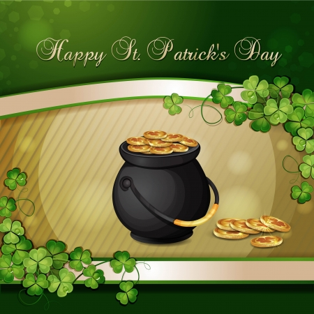 saint patrick's day: Saint Patrick s Day card with clover and cauldron with gold Illustration