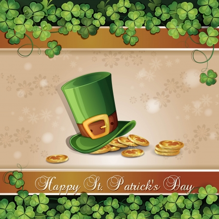 saint patrick��s day: Saint Patrick s Day card with clover ,hat and gold Illustration