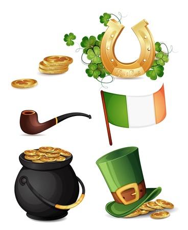 saint patrick��s day: Saint Patrick s Day symbols isolated on white