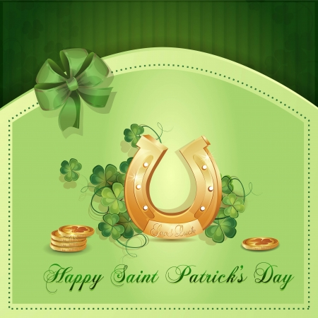 Saint Patrick s Day card with clover ,horseshoe  and gold Stock Vector - 17990817