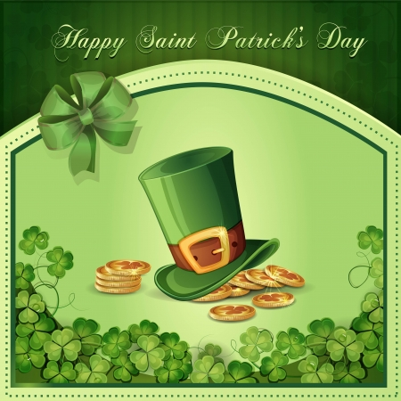 Saint Patrick s Day card with clover ,hat and gold Stock Vector - 17990819