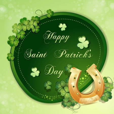 Saint Patrick s Day card with clover and horseshoe Vector