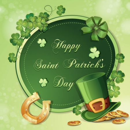 Saint Patrick s Day card with clover ,hat and gold Vector