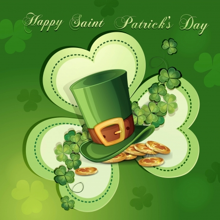 Saint Patrick s Day card with clover ,hat and gold Illustration