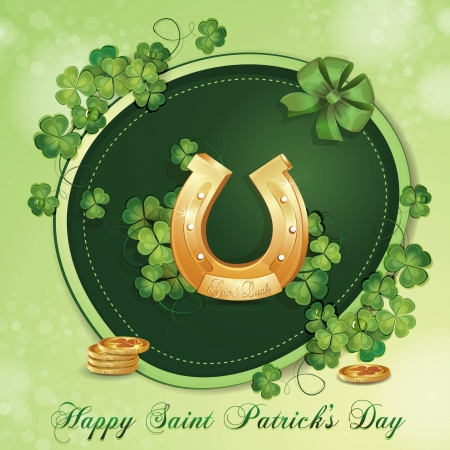 Saint Patrick s Day card with clover and horseshoe